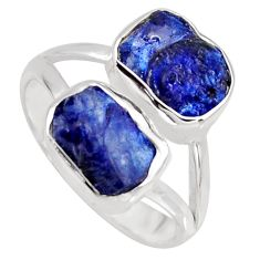 9.47cts natural blue sapphire rough 925 sterling silver ring size 8 r8750