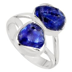 9.04cts natural blue sapphire rough 925 sterling silver ring size 7 r8752