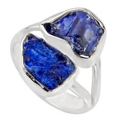 925 sterling silver 9.47cts natural blue sapphire rough ring size 5.5 r8754
