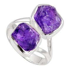 9.86cts natural purple amethyst rough 925 sterling silver ring size 7.5 r8765