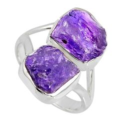 10.60cts natural purple amethyst rough 925 sterling silver ring size 8.5 r8766