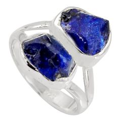 9.86cts natural blue sapphire rough 925 sterling silver ring size 7 r8772