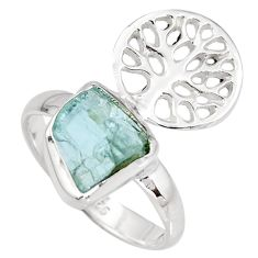 Natural aqua aquamarine rough silver solitaire tree of life ring size 7.5 r8794
