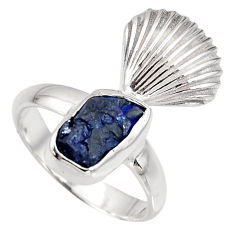 5.03cts natural blue sapphire rough 925 silver solitaire ring size 6 r8795