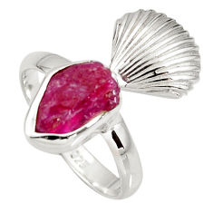 5.23cts natural pink ruby rough 925 silver solitaire ring jewelry size 7 r8798