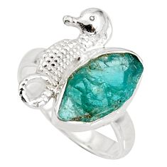 5.63cts natural blue apatite rough silver solitaire seahorse ring size 7 r8800