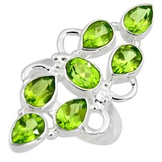 10.74cts natural green peridot 925 sterling silver ring jewelry size 7.5 r8882