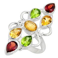 925 silver 10.74cts natural yellow citrine garnet peridot ring size 9 r8887