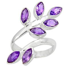 10.74cts natural purple amethyst 925 silver adjustable ring size 9 r8889