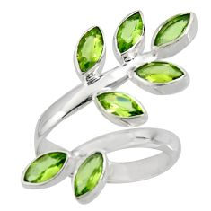 11.28cts natural green peridot 925 silver adjustable ring size 10.5 r8892