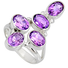 7.66cts natural purple amethyst 925 sterling silver ring jewelry size 7.5 r8903