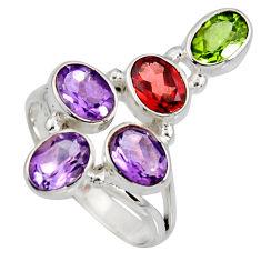 7.78cts natural purple amethyst peridot garnet 925 silver ring size 9.5 r8906