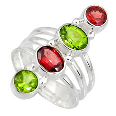 4.52cts natural peridot garnet 925 sterling silver ring jewelry size 6.5 r8928
