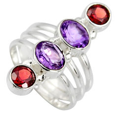 4.52cts natural purple amethyst garnet 925 sterling silver ring size 6.5 r8930