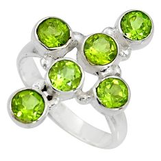 5.42cts natural green peridot 925 sterling silver ring jewelry size 9.5 r8931