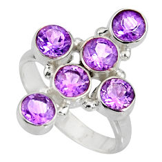 5.93cts natural purple amethyst 925 sterling silver ring jewelry size 9.5 r8939