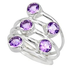 5.53cts natural purple amethyst 925 sterling silver ring jewelry size 8 r8943