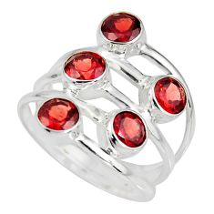 925 sterling silver 5.42cts natural red garnet round ring jewelry size 8.5 r8944