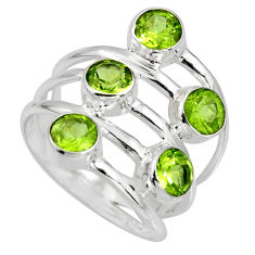5.60cts natural green peridot 925 sterling silver ring jewelry size 7.5 r8950