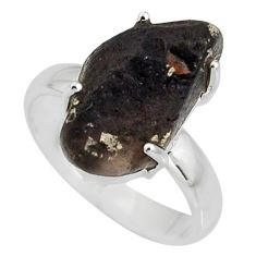 925 silver 7.33cts natural chintamani saffordite solitaire ring size 8 r8964