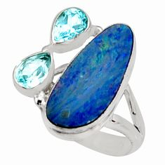 8.83cts natural blue doublet opal australian topaz 925 silver ring size 7 r9121