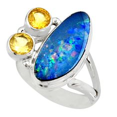 925 silver 7.89cts natural blue doublet opal australian ring size 8 r9124
