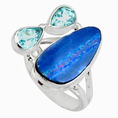 925 silver 8.83cts natural blue doublet opal australian ring size 6.5 r9127