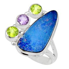 925 silver 8.96cts natural blue doublet opal australian ring size 7.5 r9132