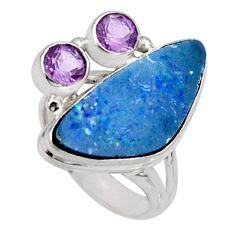 925 silver 8.25cts natural blue doublet opal australian ring size 6.5 r9139