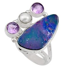 9.07cts natural blue doublet opal australian 925 silver ring size 8.5 r9140