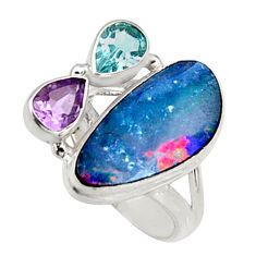 925 silver 8.25cts natural blue doublet opal australian ring size 6.5 r9144