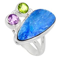 8.43cts natural blue doublet opal australian 925 silver ring size 8 r9145