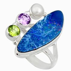 11.25cts natural blue doublet opal australian 925 silver ring size 8.5 r9150