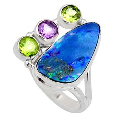 925 silver 9.72cts natural blue doublet opal australian ring size 7.5 r9151