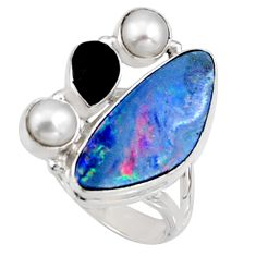 9.07cts natural blue doublet opal australian onyx 925 silver ring size 7 r9152