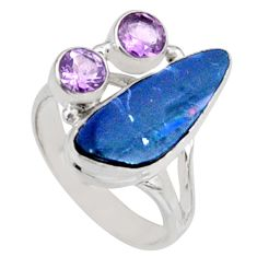 7.97cts natural blue doublet opal australian 925 silver ring size 9 r9153