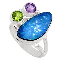 7.97cts natural blue doublet opal australian 925 silver ring size 8 r9156