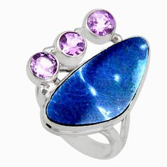 10.33cts natural blue doublet opal australian 925 silver ring size 7.5 r9158
