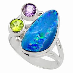 925 silver 7.91cts natural blue doublet opal australian ring size 8.5 r9159