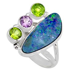8.76cts natural blue doublet opal australian 925 silver ring size 8.5 r9160