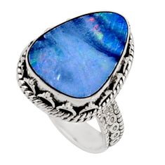 925 silver 6.62cts natural doublet opal australian solitaire ring size 8.5 r9164