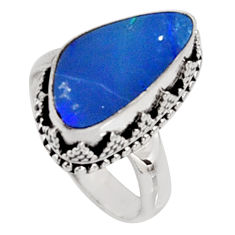 5.52cts natural blue doublet opal australian silver solitaire ring size 7 r9165