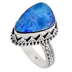 6.62cts natural blue doublet opal australian silver solitaire ring size 9 r9172