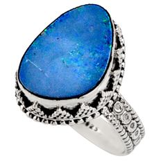 6.48cts natural doublet opal australian 925 silver solitaire ring size 8 r9179