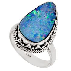 6.26cts natural doublet opal australian 925 silver solitaire ring size 7.5 r9183