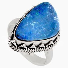6.62cts natural blue doublet opal australian silver solitaire ring size 7 r9185