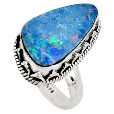 6.46cts natural doublet opal australian 925 silver solitaire ring size 7.5 r9194