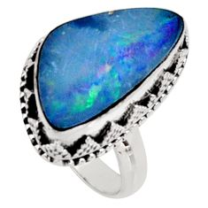 6.48cts natural doublet opal australian 925 silver solitaire ring size 7.5 r9197