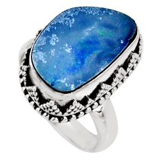 925 silver 6.63cts natural doublet opal australian solitaire ring size 7 r9200
