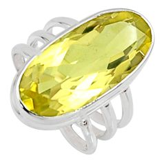 12.04cts natural lemon topaz 925 sterling silver solitaire ring size 6.5 r9232